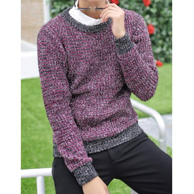 Гаджет   Stylish Round Neck Slimming Color Splicing Long Sleeve Thicken Cotton Blend Sweater For Men Sweaters & Cardigans