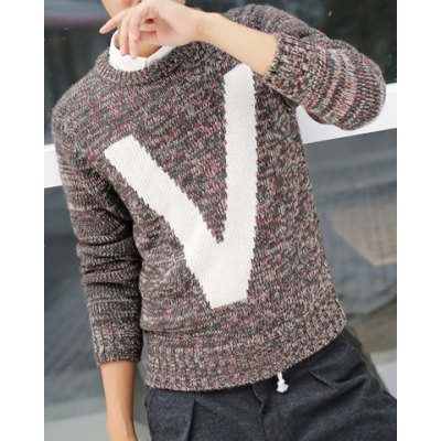 Гаджет   Stylish Round Neck Slimming Color Block Letter V Jacquard Long Sleeve Thicken Cotton Blend Sweater For Men Sweaters & Cardigans
