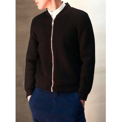 Гаджет   Laconic Stand Collar Slimming Solid Color Fashion Mesh Design Long Sleeves Men