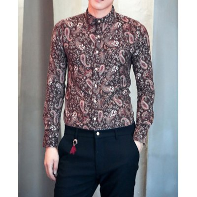 Гаджет   Stylish Turn-down Collar Slimming Personality Paisley Print Long Sleeves Men