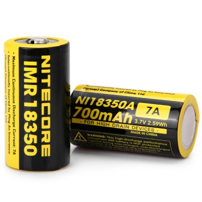 2 x Nitecore Ni18350A IMR 18350 700mAh 3.7V Rechargeable Li - Mn Battery for High Drain Devices - NitecoreBatteries<br>2 x Nitecore Ni18350A IMR 18350 700mAh 3.7V Rechargeable Li - Mn Battery for High Drain Devices<br><br>Type: Battery<br>Brand: Nitecore<br>Battery  : 18350<br>Rechargeable: Yes<br>Protected: No<br>Voltage(V): 3.7V<br>Capacity: 700mAh<br>Max. Discharge : 7A<br>Suitable for: CD Players, Protable Games, Computers, MP3, Flashlight, MP4, MP5, PDA, MD, Digital Camera<br>Product weight: 19 g (1 pc)<br>Package weight: 0.09 kg<br>Product size (L x W x H): 3.5 x 1.8 x 1.8 cm / 1.38 x 0.71 x 0.71 inches (1 pc)<br>Package size (L x W x H): 5.5 x 5 x 3 cm<br>Package Contents: 2 x Nitecore Ni18350A 3.7V 18350 700mAh IMR Li-Mn Battery
