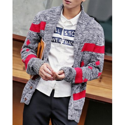 Гаджет   Stylish Turndown Collar Slimming Stripe Argyle Jacquard Long Sleeve Thicken Cotton Blend Cardigan For Men Sweaters & Cardigans