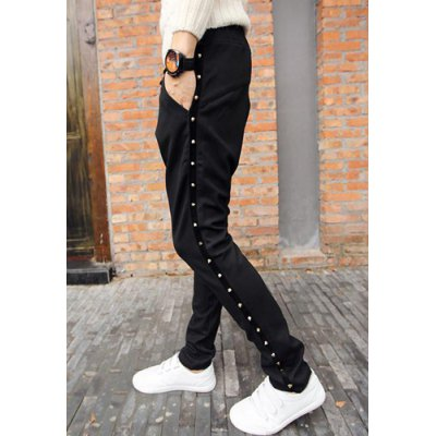 Гаджет   Loose Fit Stylish Lace-Up Rivets Embellished Straight Leg Cotton Blend Pants For Men Pants