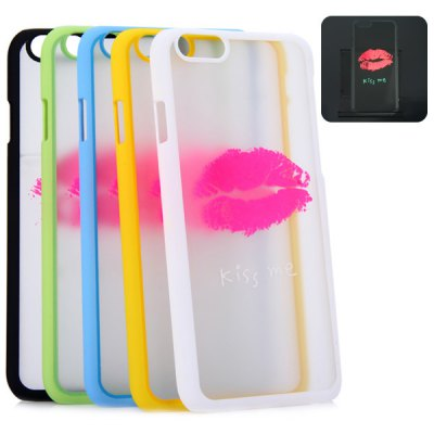 Фотография New Dual Colors Fluorescent Transparent PC Back Case Cover of Lip Pattern for iPhone iPhone 6  -  4.7 inches