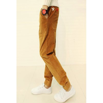 Гаджет   Loose Fit Stylish Lace-Up Star Embroidered Beam Feet Cotton Blend Joggers Pants For Men