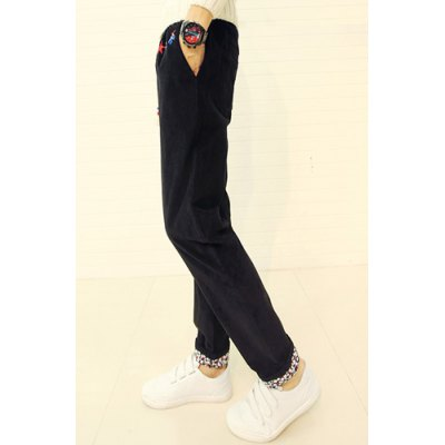 Гаджет   Slimming Stylish Lace-Up Floral Splicing Ethnic Embroidered Straight Leg Corduroy Pants For Men Pants