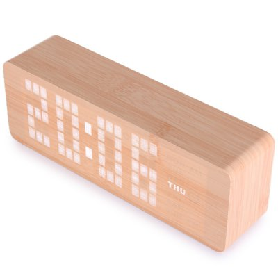 Novelty White Light LED Wooden Electronic Alarm Clock with Sound Control Calendar Thermometer Function