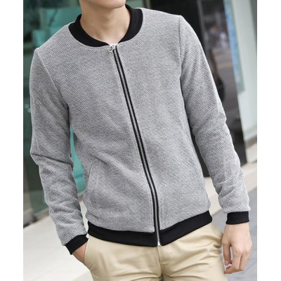 Гаджет   Stylish Stand Collar Slimming Color Block Tiny Checked Design Long Sleeve Cotton Blend Coat For Men Jackets & Coats