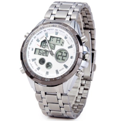 LED Watch Double Movt Analog Digital Display Date Week Stopwatch Alarm Round Dial