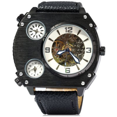 ФОТО Male Quartz Mechanical Watch Multi - movt Leather Band Round Dial