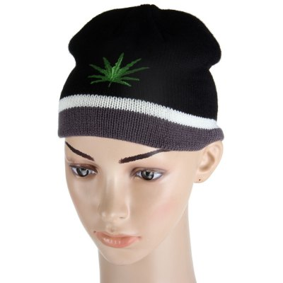 Winter Fashion Leaf Pattern Knitted Hat Thick Cap for Boys and Girls