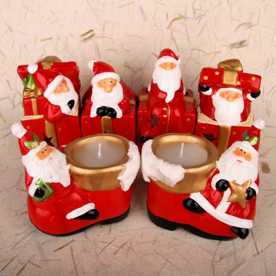 1pc Ceramic Santa Claus with Gift Box Candle Holder