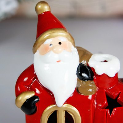 Ceramic Santa Clause with Locomotive Decoration Colors Changing LED Light for Christmas Gifts