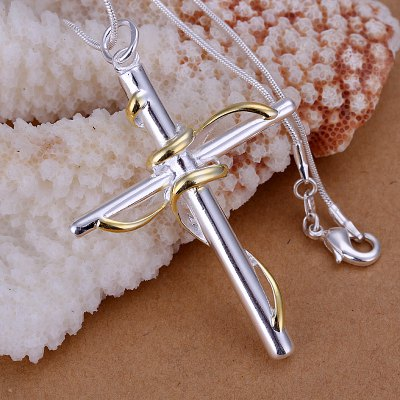 Fashionable Cross Silver Plated Pendant (without the chain)
