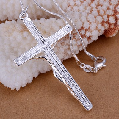 Stylish Jesus Cross Silver Plated Pendant For Man Without Chain