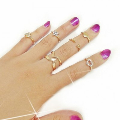 6PCS Star Heart Rhinestone Rings