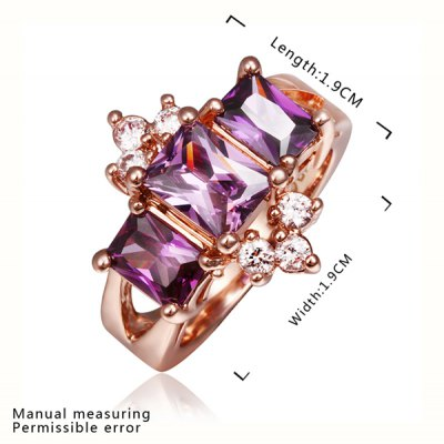Romantic Plated Rose Gold Rhinestone Coralline Ring