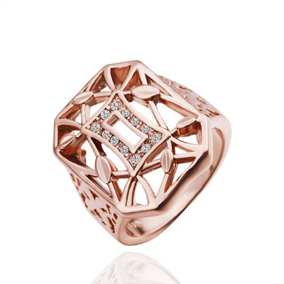 Retro Style Openwork Pattern Broad Side Gold Ring For Women