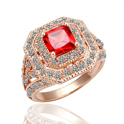 Gorgeous Environmental Alloy Red Rhinestone  RingRings<br>Gorgeous Environmental Alloy Red Rhinestone  Ring<br><br>Gender: For Women<br>Metal Type: Rose Gold<br>Style: Trendy<br>Shape/Pattern: Geometric<br>Diameter: 18.1MM<br>Weight: 0.04KG<br>Package Contents: 1x ring