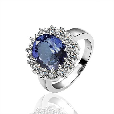 Faux Sapphire Alloy Ring