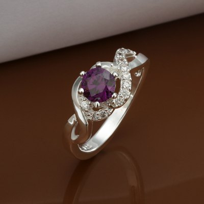 Faux Amethyst Silver Plated Ring
