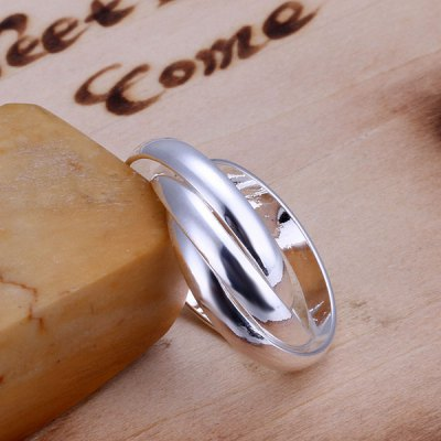 Fashionable Silver Plated Three Circles Ring For Wedding
