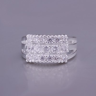 Simple Style Channel Setting Rhinestone Three Lines Ring