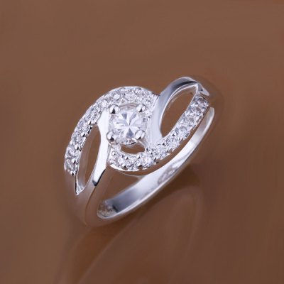 Stunning Embellished Rhinestone Prong Setting Wedding Ring