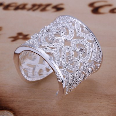 Rhinestone Hollow Out Hearts Ring