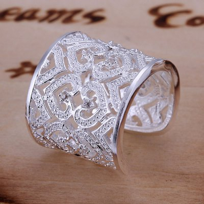 ФОТО Luxurious Embellished Rhinestone Hearts Pattern Design Ring For Women