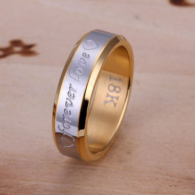 Charming Gold Plated Forever Love Print Ring