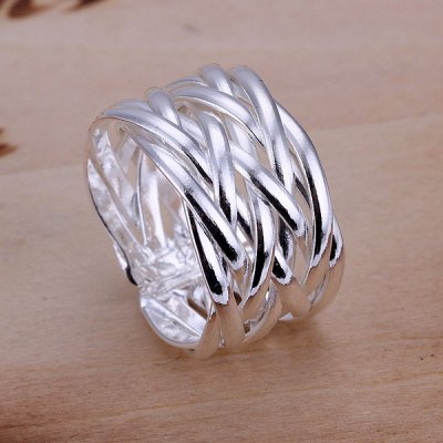 Trendy Sweet Jewelry Silver Color Braid Ring