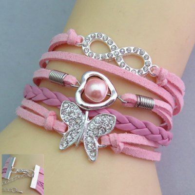 Rhinestone Decorated Butterfly Friendship Bracelet
