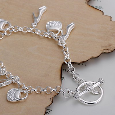 Cool Design Decorated Baggy And Shoes Chain Bracelet For Girls
