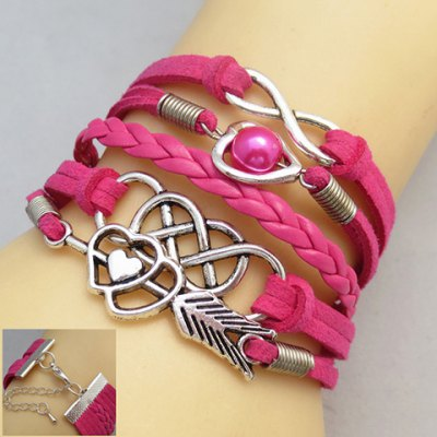 Faux Pearl Heart Infinity Multilayer Friendship Bracelet