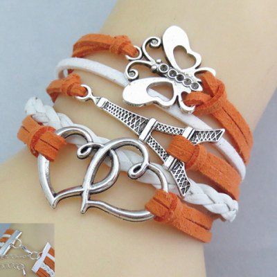 Charming Heart and Tower and Butterfly Shape Women's Friendship Bracelet