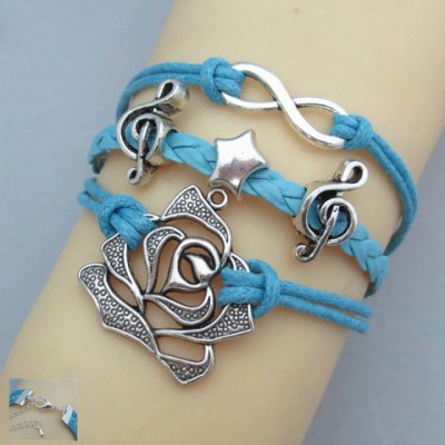 Fashion Chic Women's Star Flower Note Design Friendship Bracelet