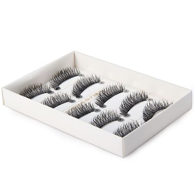5 Pairs Elegant Curl Makeup Cross False Eyelash Purple Natural False Eyelashes