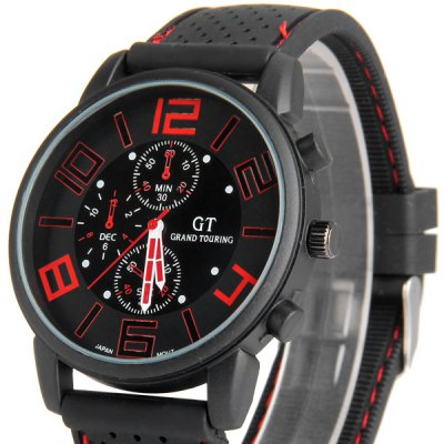 GT Sports Male Military Watch Analog Quartz Wristwatch Silicone Strap Round DialMens Watches<br>GT Sports Male Military Watch Analog Quartz Wristwatch Silicone Strap Round Dial<br><br>Available Color: Blue,Orange,White,Yellow<br>Band material: Silica Gel<br>Case color: Black<br>Case material: Stainless Steel<br>Clasp type: Pin buckle<br>Display type: Analog<br>Movement type: Quartz watch<br>Package Contents: 1 x Watch<br>Package size (L x W x H): 26.50 x 5.30 x 2.00 cm / 10.43 x 2.09 x 0.79 inches<br>Package weight: 0.5800 kg<br>People: Unisex table<br>Product size (L x W x H): 25.50 x 4.40 x 0.90 cm / 10.04 x 1.73 x 0.35 inches<br>Product weight: 0.0550 kg<br>Shape of the dial: Round<br>Special features: Three needle<br>Style elements: Big dial<br>The band width: 2.0 cm / 0.8 inches<br>The dial diameter: 4.3 cm / 1.7 inches<br>The dial thickness: 1.0 cm / 0.4 inches<br>Watch style: Fashion