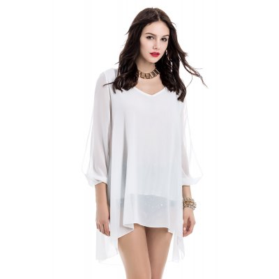 Elegant V-Neck 3/4 Sleeve Loose-Fitting White Chiffon Dress For Women