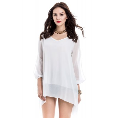 V-Neck 3/4 Sleeve Loose-Fitting White Chiffon Dress For Women