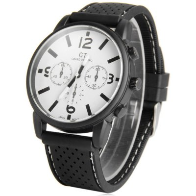 GT Japanese Quartz Watch Round Dial Silicone Strap for Men