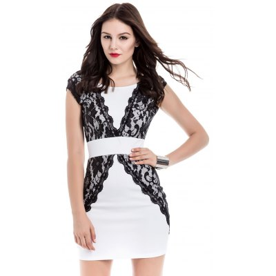 Contrast Lace Bodycon Mini Homecoming Dress