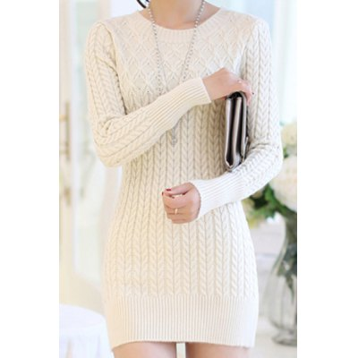 Long Sleeves Solid Color Sweater Dress For Women