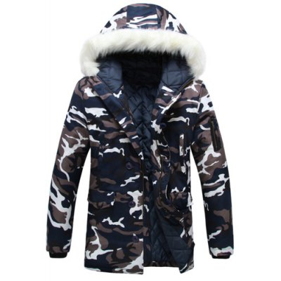 Stylish Hooded Slimming Camo Print Button Design Long Sleeve Thicken Cotton Blend Coat For Men