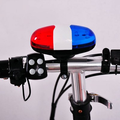 ФОТО Multifunctional 6 LEDs 4 Sounds Police Car Bicycle Warning Horn Light Mountain Bike Loud Speaker Lamp
