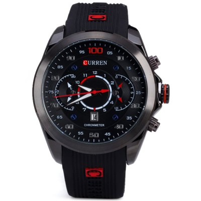 Curren 8166 Men Wristwatch Water Resistant WatchMens Watches<br>Curren 8166 Men Wristwatch Water Resistant Watch<br><br>Available Color: Black,Blue,Gold,Silver<br>Band material: Rubber<br>Brand: Curren<br>Case material: Stainless Steel<br>Clasp type: Pin buckle<br>Display type: Analog<br>Movement type: Quartz watch<br>Package Contents: 1 x Watch<br>Package size (L x W x H): 26.00 x 5.50 x 2.20 cm / 10.24 x 2.17 x 0.87 inches<br>Package weight: 0.1370 kg<br>Product size (L x W x H): 25.00 x 4.50 x 1.20 cm / 9.84 x 1.77 x 0.47 inches<br>Product weight: 0.0870 kg<br>Shape of the dial: Round<br>Special features: Decorating small sub-dials<br>The band width: 2.0 cm / 0.8 inches<br>The dial diameter: 4.5 cm / 1.8 inches<br>The dial thickness: 1.2 cm / 0.5 inches<br>Watch style: Fashion<br>Watches categories: Male table<br>Water resistance : Life water resistant