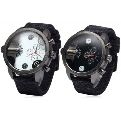 Shiweibao A3130 Double Show  Male Quartz Watch Canvas Strap Round Dial for Men