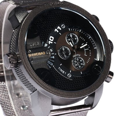 Shiweibao A3130 Double Movt Male Quartz Watch Steel Net Strap Round Dial