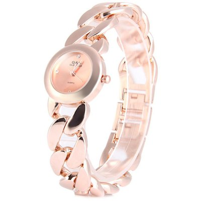 GLE VDO Women Diamond Quartz Chain Watch Round Dial Stainless Steel Band